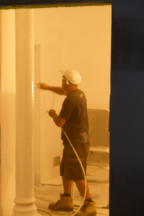 Dan spraying primer.